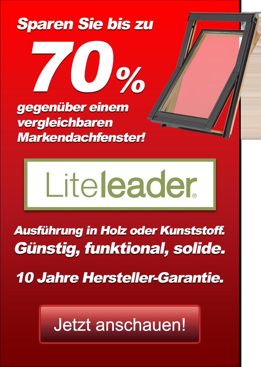Sparen Sie mit Liteleader bis zu 51 % gegenüber einem vergleichbaren Markendachfenster! Ausführung in Holz oder Kunststoff. Günstig, funktional, solide. 10 Jahre Hersteller-Garantie. Jetzt anschauen!