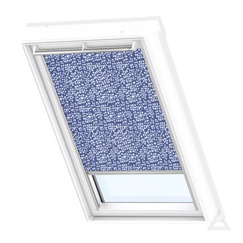 velux rollo manuell rfl mk06 4160s dekor blau wei g nstig kaufen bei dachgewerk. Black Bedroom Furniture Sets. Home Design Ideas